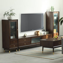 家逸北欧实木电视柜茶几组合现代简约电视机柜家用地柜收纳柜客厅储物柜(胡桃色1.5米电视柜+高低边柜组合)