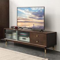家逸北欧实木电视柜茶几组合现代简约电视机柜家用地柜收纳柜客厅储物柜(推拉款胡桃色2米)