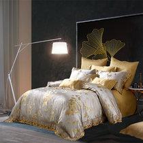 梦洁家纺美颂蕾丝提花四件套纯棉床单被套丝滑美式轻奢1.8m床上用品-芳华月