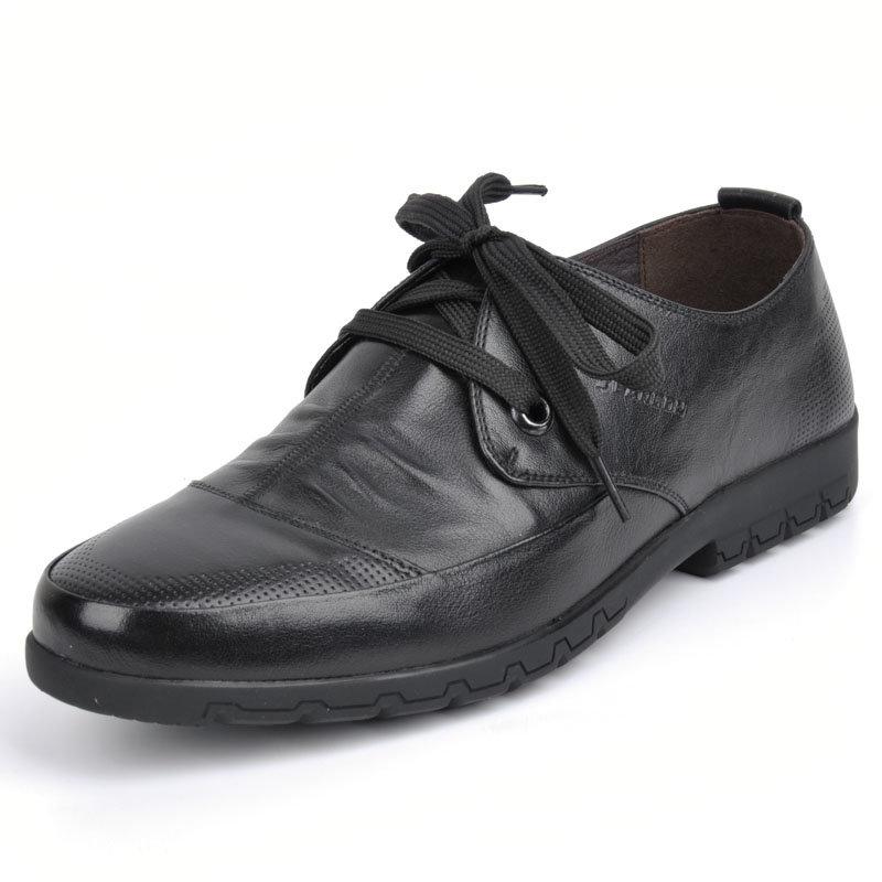 意尔康春秋款男系带低帮单鞋舒适百搭真皮皮鞋韩版商务休闲潮61342(黑色 61342 38)商品大图
