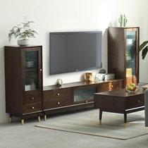 家逸北欧实木电视柜茶几组合现代简约电视机柜家用地柜收纳柜客厅储物柜(胡桃色1.8米电视柜+高低边柜组合)