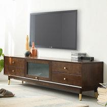 家逸北欧实木电视柜茶几组合现代简约电视机柜家用地柜收纳柜客厅储物柜(简约款胡桃色2米)