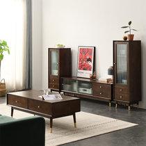 家逸北欧实木电视柜茶几组合现代简约电视机柜家用地柜收纳柜客厅储物柜(推拉款2米+高低矮边柜组合)