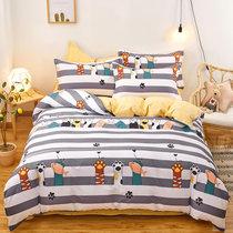 法兰卡丹 40s全棉四件套田园风纯棉被套床单床上用品(猫猫爪爪 默认)