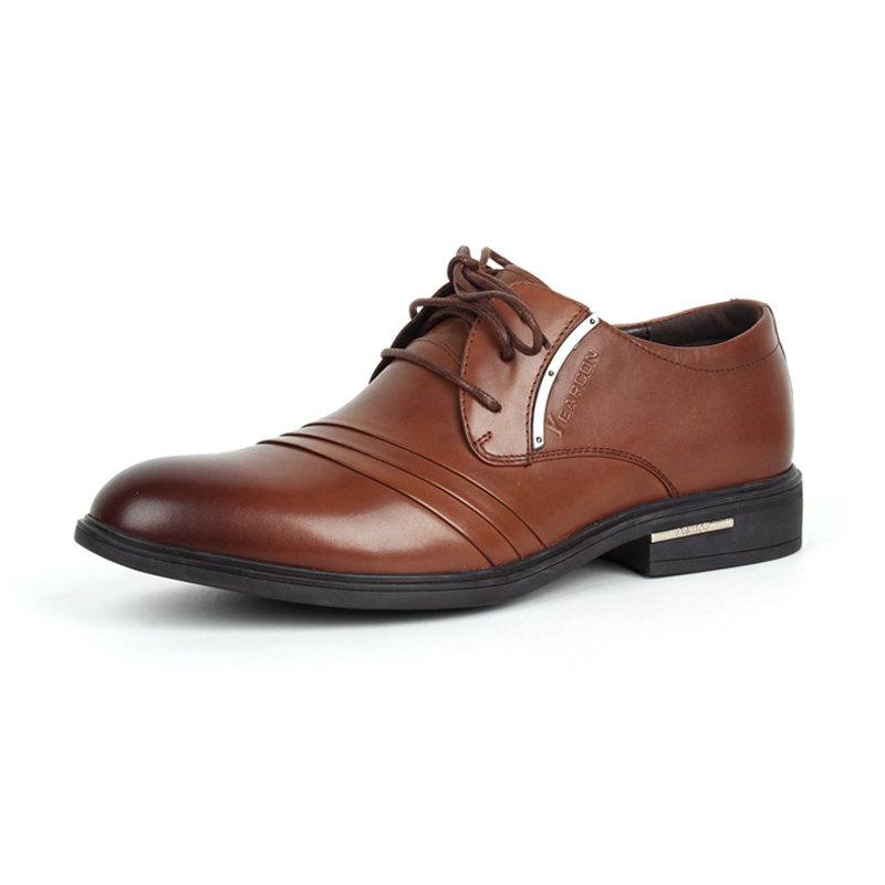 意尔康男鞋经典商务男尖头套脚真皮皮鞋平跟办公室正装单鞋潮93337(浅棕 42)商品大图