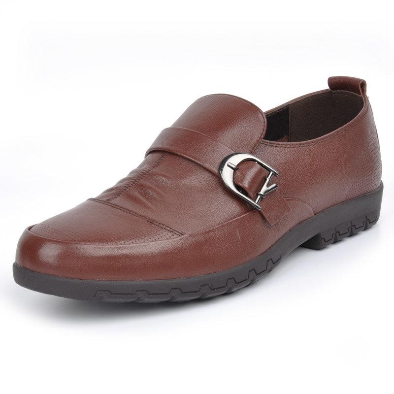 意尔康男鞋套商务休闲真皮皮鞋舒适透气男士单鞋单层皮男鞋61341(红棕色 61341 44)商品大图