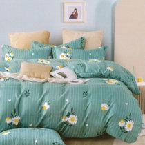 红瑞时尚印花四件套 花香-蓝 1.5米床适用200*230cm 亲肤透气 舒适耐用