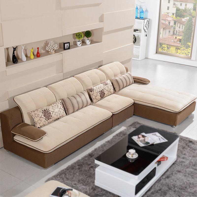 Bekvam(不凡)布艺沙发转角L型组合客厅家具 休闲 沙发B3351(咖啡色 1+2+贵妃)商品大图
