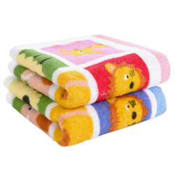 (国美自营)金号毛巾 纯棉卡通印花童巾2条装 52*26 40g/条