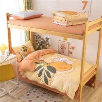 觉先生学生宿舍单人床上用品四件套抱抱橙1.2-1.5米床单款四件套 水洗面料 柔软舒适