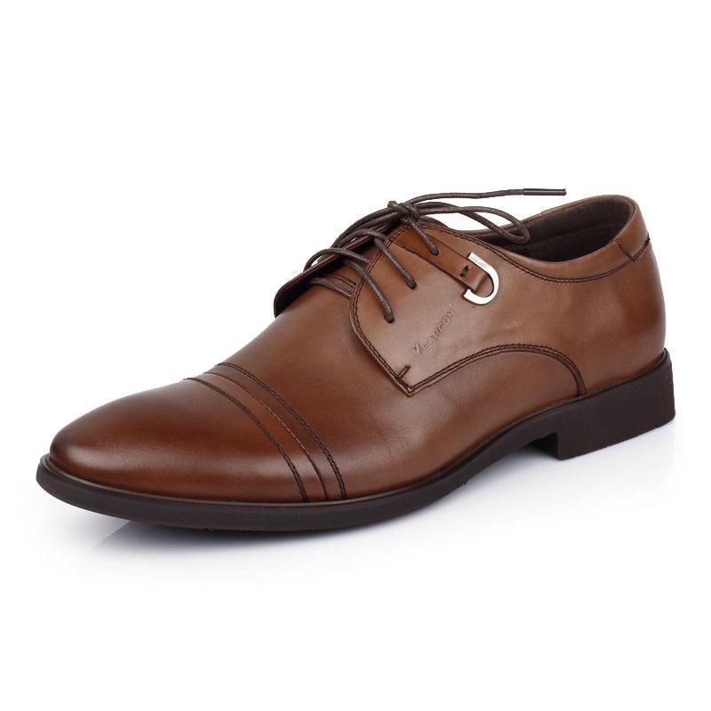 意尔康男鞋时尚英伦商务正装皮鞋男士办公室真皮百搭皮鞋男51301(棕色 51301 38)商品大图