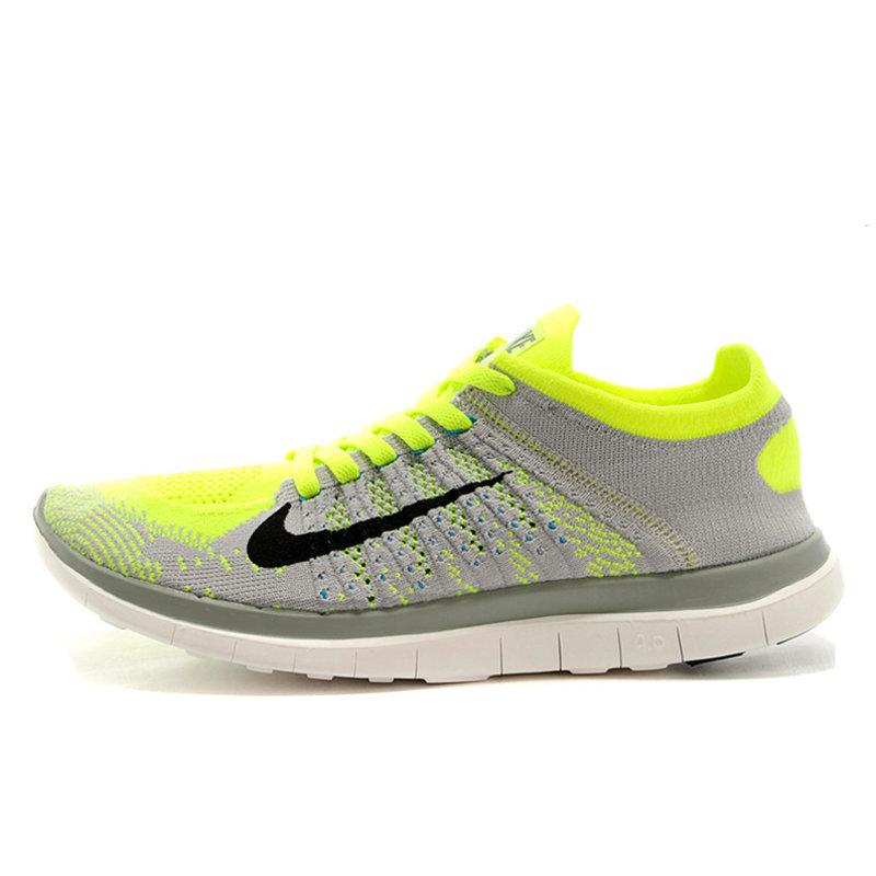 耐克Nike新款女鞋 Free 4.0 Flyknit 男鞋跑步鞋网面运动鞋631050-101 (631053-401 浅灰绿  44)商品大图