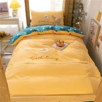 觉先生学生宿舍单人床上用品四件套菊上花开-黄1.2-1.5米床单款四件套 水洗面料 柔软舒适